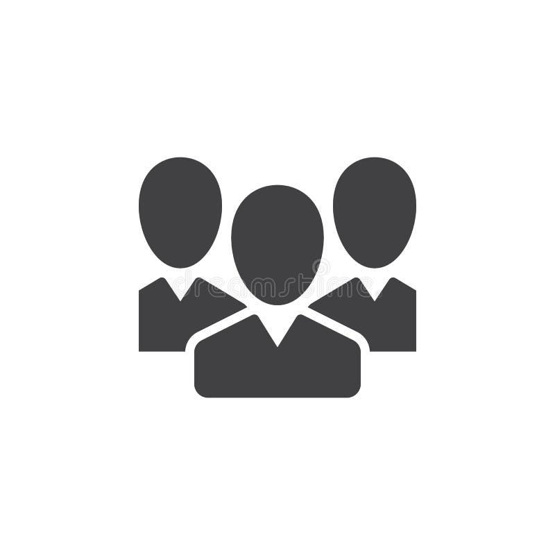 De mensen, de vector van het teampictogram, vulden vlak teken, stevig pictogram dat op wit wordt geïsoleerd vector illustratie
