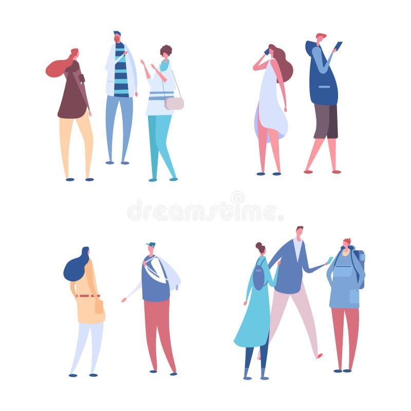 De mensen delen in groepen vectorreeks mee Mededeling, bespreking of vergaderingsillustratie royalty-vrije illustratie
