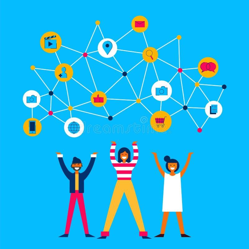 De mensen delen informatie over sociaal media netwerk vector illustratie