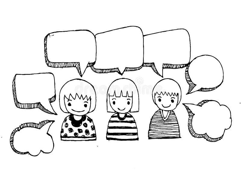 De mensen denken en de bellen van de dialoogtoespraak vector illustratie