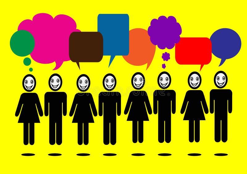 De mensen denken en de bellen van de dialoogtoespraak stock illustratie