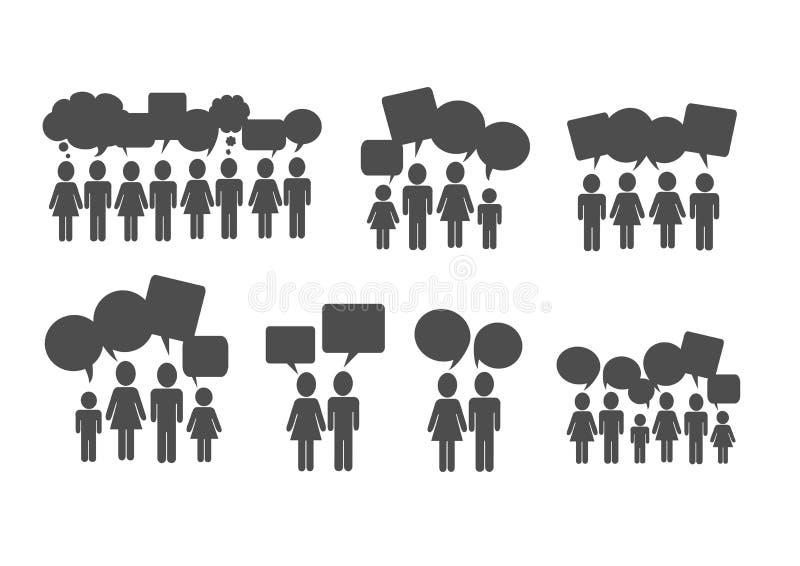 De mensen denken en de bellen van de dialoogtoespraak royalty-vrije illustratie