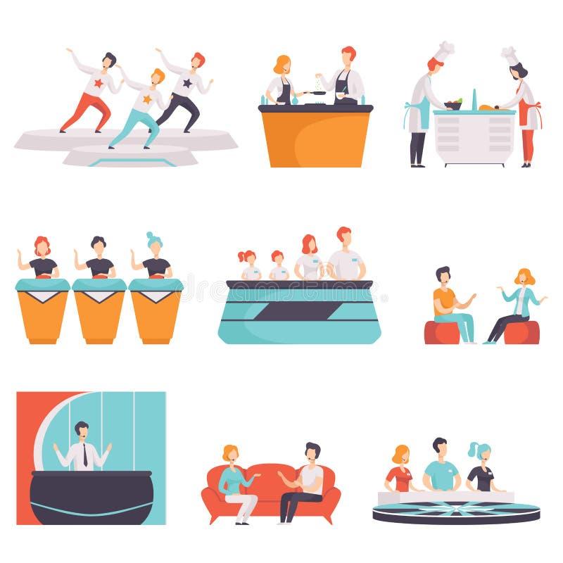 De mensen die aan een TV deelnemen tonen reeks, TV-nieuws, gesprek, quiz, toont het koken vectorillustraties op een witte achterg royalty-vrije illustratie
