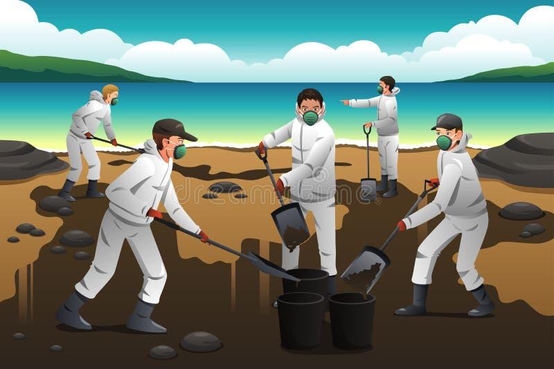 De mensen die na een Olie schoonmaken morsen stock illustratie