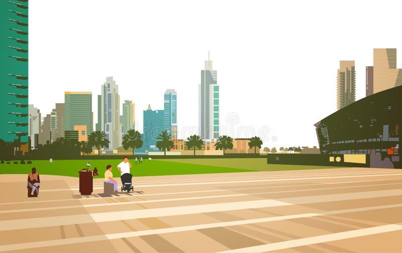 De mensen die ontspannen het concept van de stadionarena over moderne cityscape van wolkenkrabbergebouwen vlak horizontale achter vector illustratie