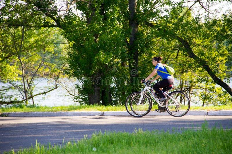 De mensen die op de fietsen in stad berijden parkeren royalty-vrije stock fotografie