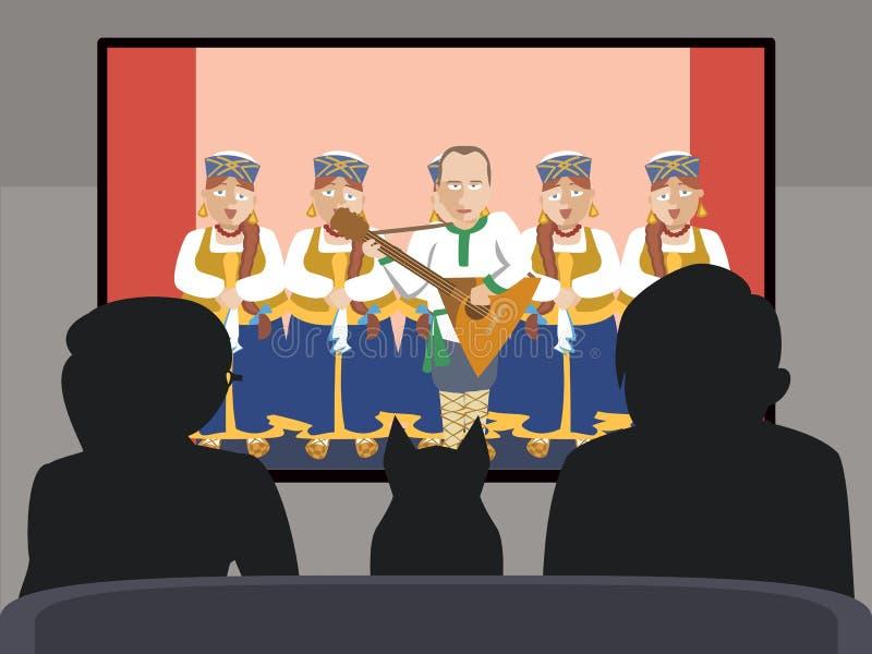 De mensen die op volks Russisch van TV letten tonen vectorbeeldverhaal vector illustratie