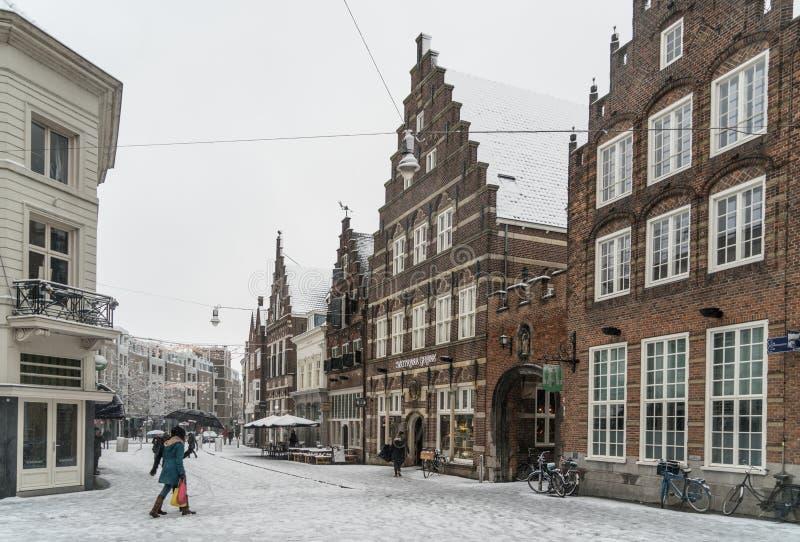 De mensen die de sneeuw kruisen behandelden Hogesteenweg naar sommige historische gebouwen in het centrum van Den Bosch stock fotografie