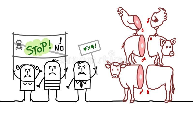 De mensen die van de beeldverhaalveganist nr zeggen aan de vleesindustrie royalty-vrije illustratie