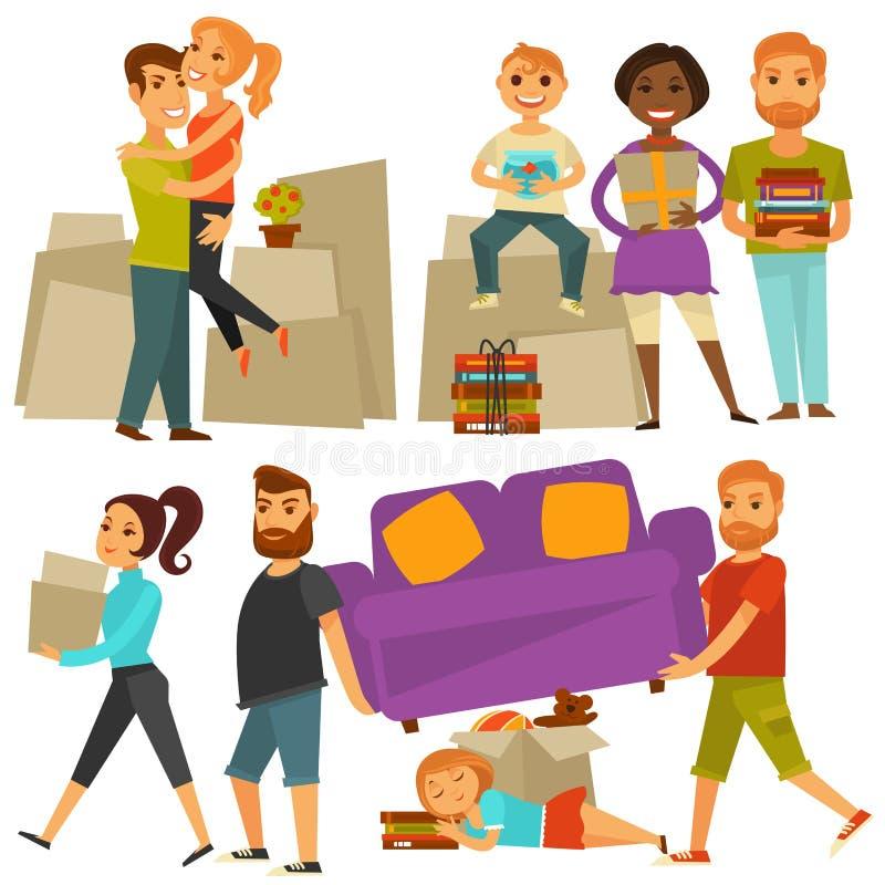 De mensen die van de huisbeweging zich van geplaatste huis vector vlakke pictogrammen bewegen stock illustratie