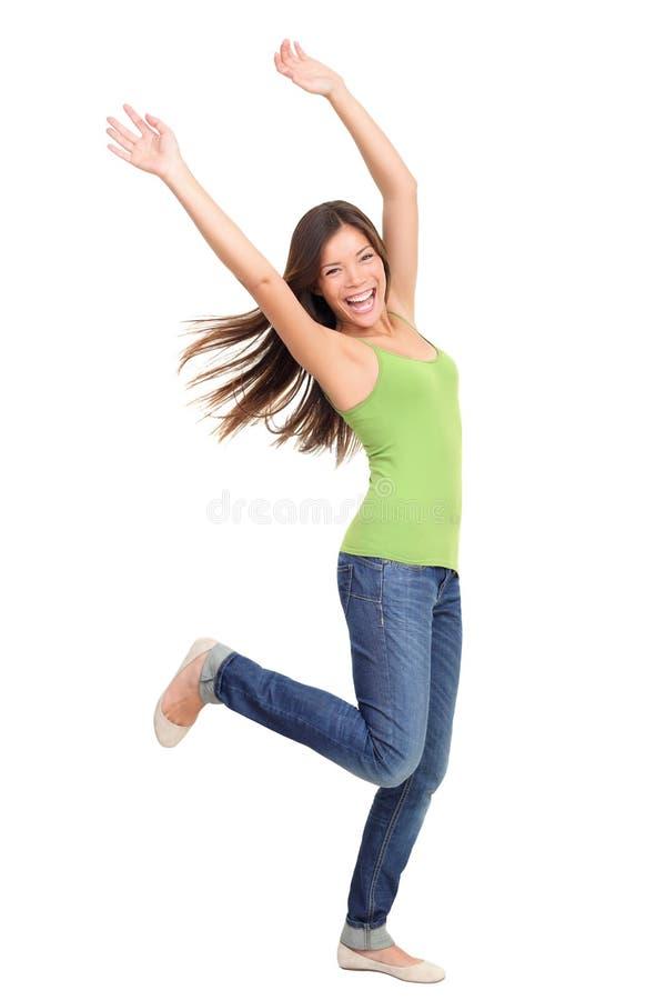De mensen die van het succes winnen: vrouw het dansen stock foto's