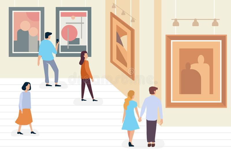 De mensen die van tentoonstellingsbezoekers en moderne abstracte schilderijen lopen bekijken bij eigentijds minimalistic kunstgal stock illustratie