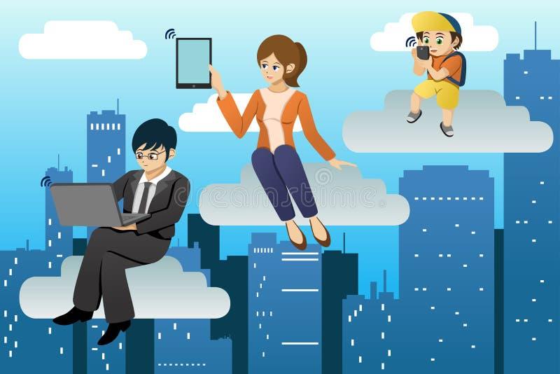 De mensen die verschillend mobiel apparaat in wolken gegevensverwerking met behulp van omgeven royalty-vrije illustratie