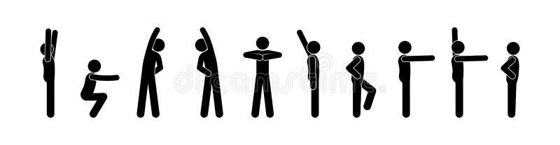 De mensen doen gymnastiek, pictogrammens, het menselijke silhouet van het stokcijfer vector illustratie