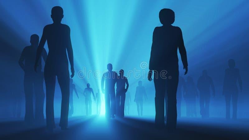 De mensen gaan naar het licht stock illustratie
