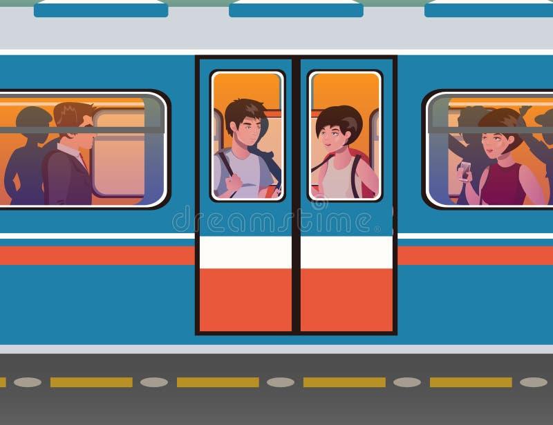De mensen gaan naar de metro stock illustratie