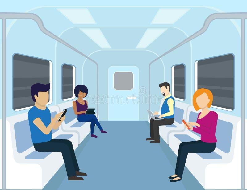 De mensen gebruiken gadgets in de metro royalty-vrije illustratie