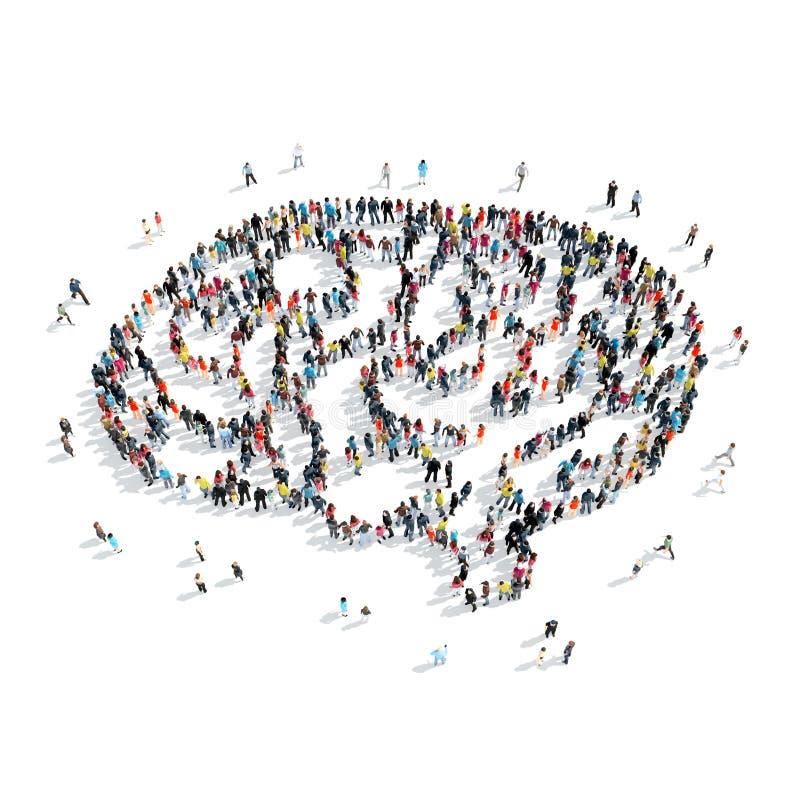 De mensen geven hersenenmenigte gestalte stock illustratie