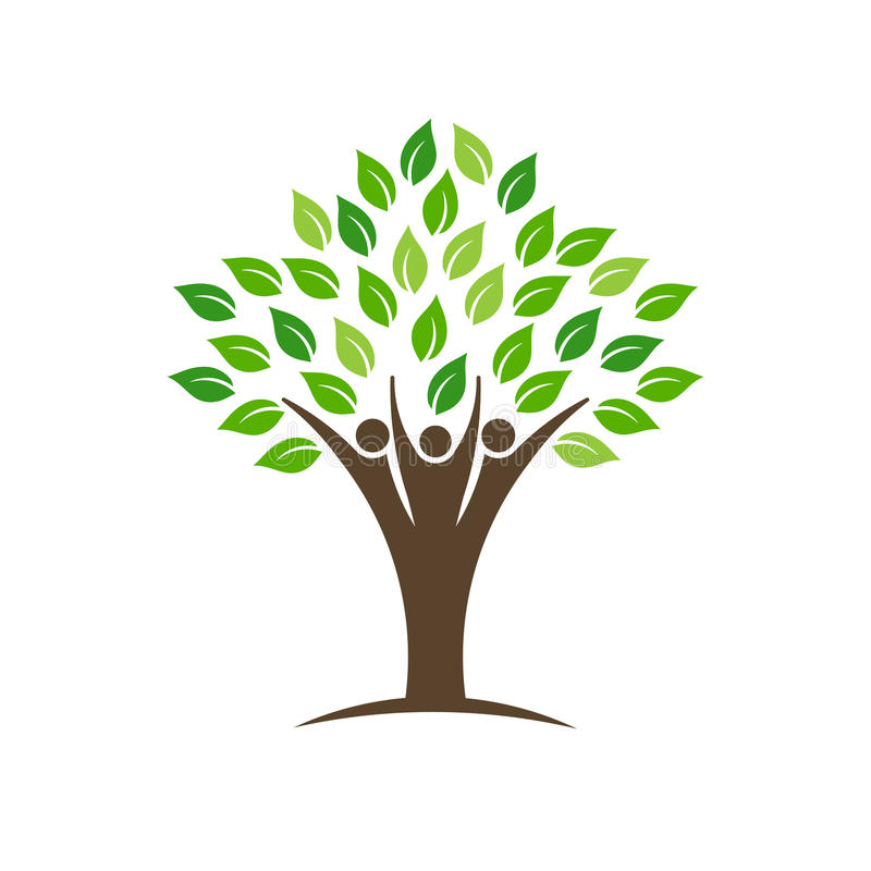 De mensen groeperen boomembleem met bladeren, boomstam en handen