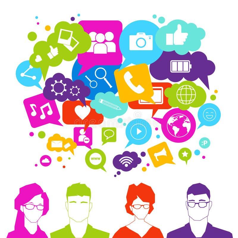 De mensen groeperen over Sociale Media Pictogrammen op Wit Achtergrondnetwerk Communicatie Concept vector illustratie