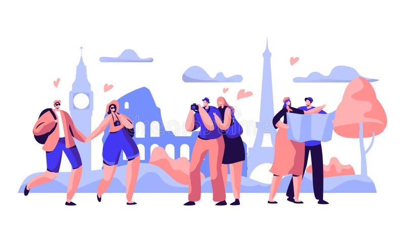 De mensen groeperen Reis nemen het Gezicht van Fotoeuropa Gelukkig Mensenkarakter in Vakantie met van de Rugzakcamera en Kaart Wa royalty-vrije illustratie