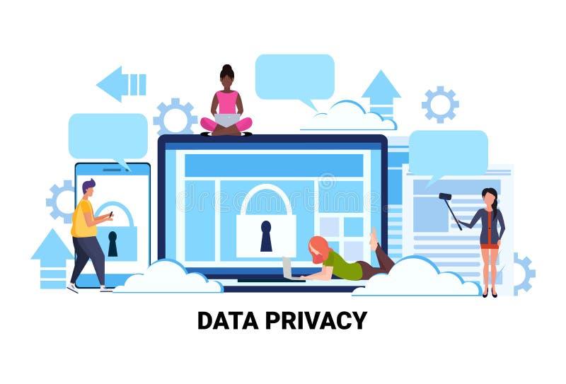 De mensen groeperen van de het schermgegevensbescherming van de hangslotcomputer het team van het de privacyconcept het werk het  stock illustratie
