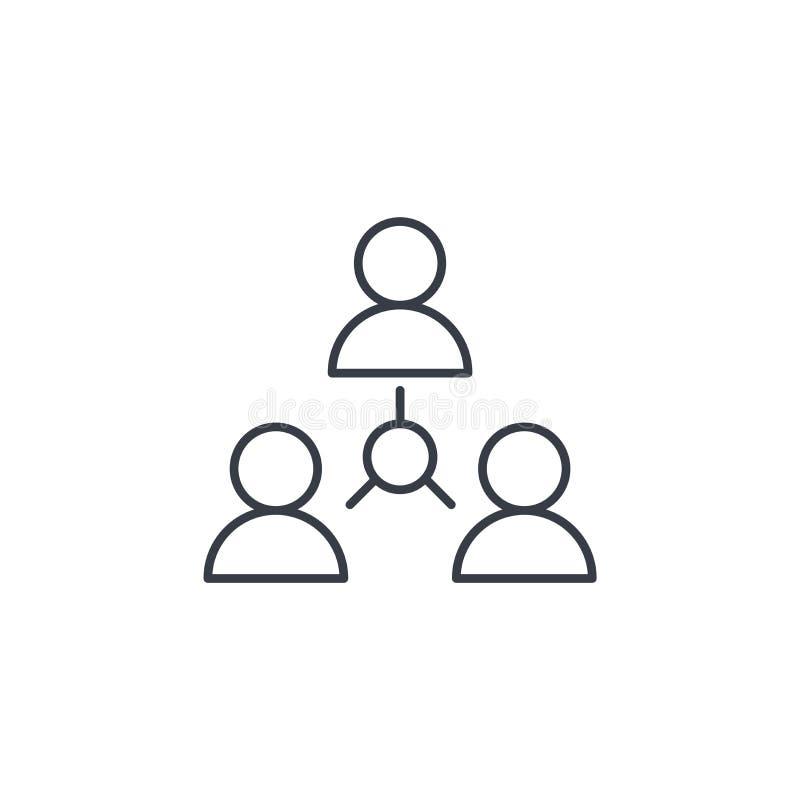 De mensen groeperen zich, gemeenschap, pictogram van de netwerk het dunne lijn Lineair vectorsymbool stock illustratie