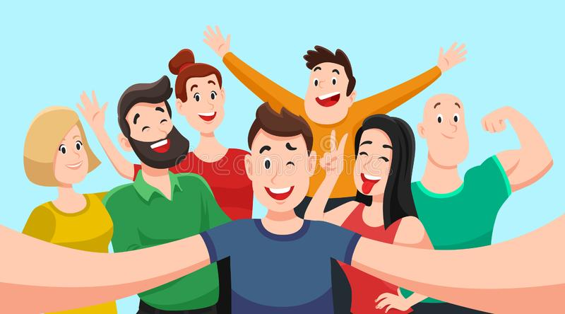 De mensen groeperen zich selfie De vriendschappelijke kerel maakt groepsfoto met glimlachende vrienden op smartphonecamera in han royalty-vrije illustratie