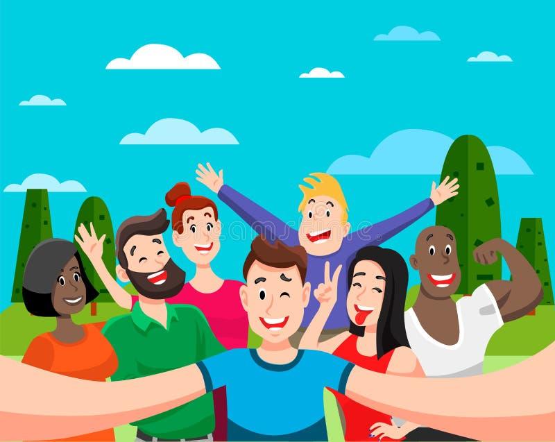 De mensen groeperen zich selfie stock illustratie