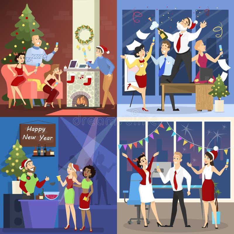 De mensen hebben pret op de geplaatste Kerstmispartij royalty-vrije illustratie