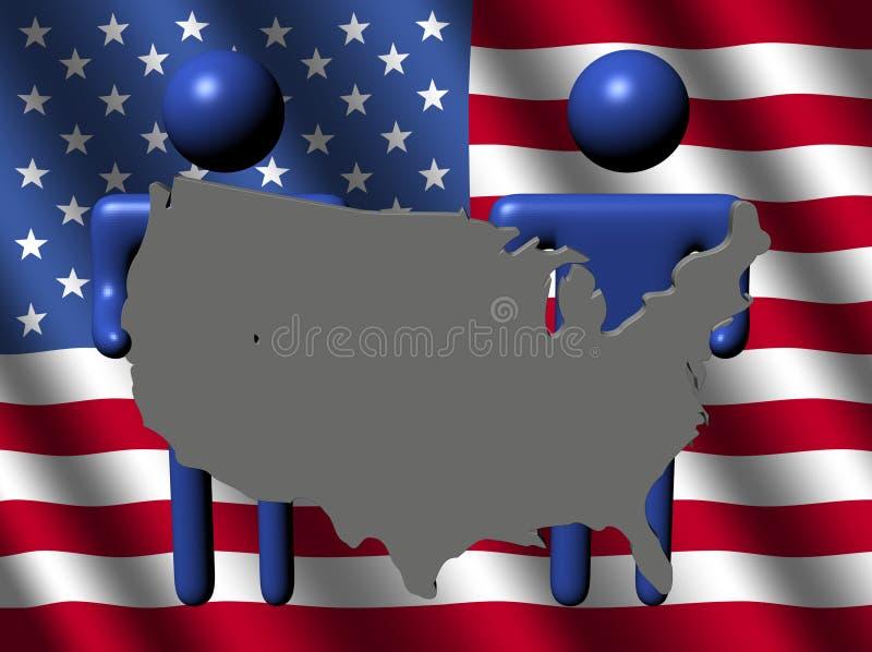 De mensen houden de kaartteken van de V.S. met vlag vector illustratie