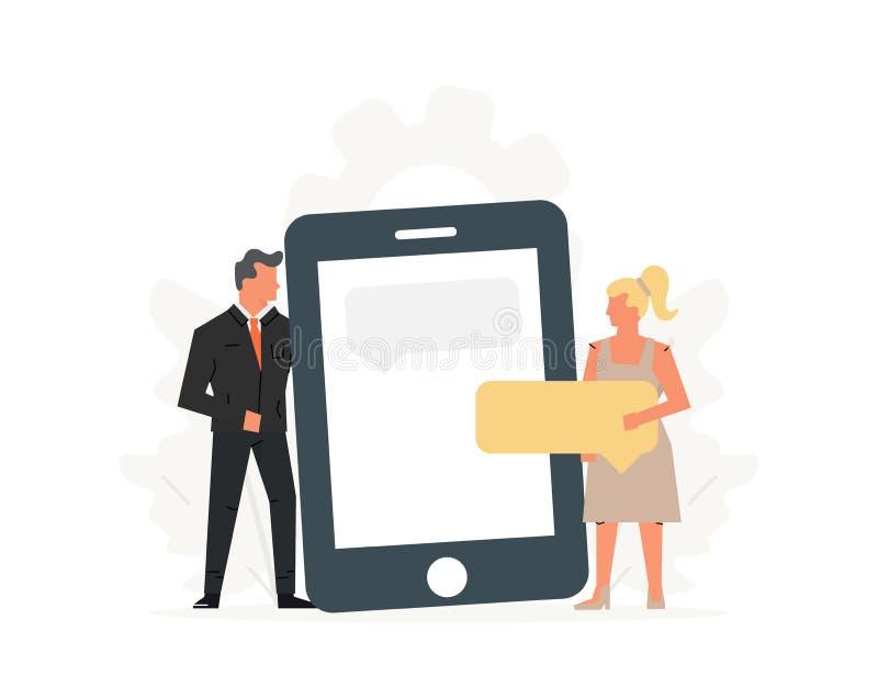 De mensen houden een grote telefoon Concept commerciële vergadering, virtuele verhoudingen, online daterend, sociaal voorzien van royalty-vrije illustratie