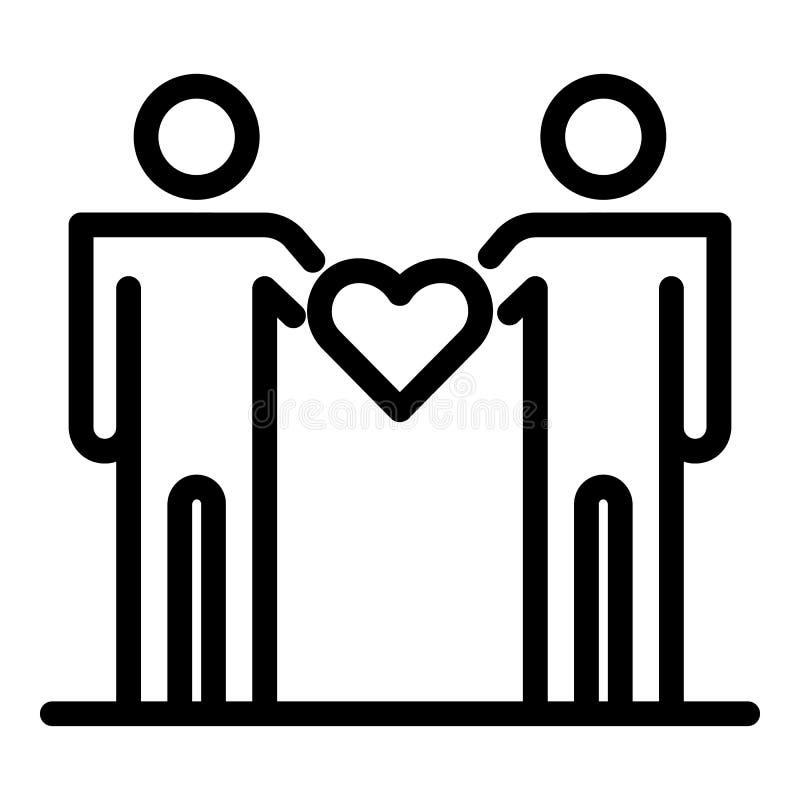 De mensen houden hartpictogram, schetsen stijl stock illustratie
