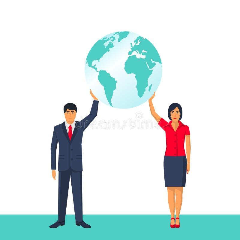 De mensen houden planeet De man en een vrouw houden een planeet in handen royalty-vrije illustratie