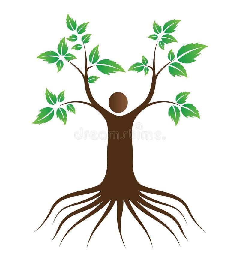 De mensen houden van boom met wortels royalty-vrije illustratie