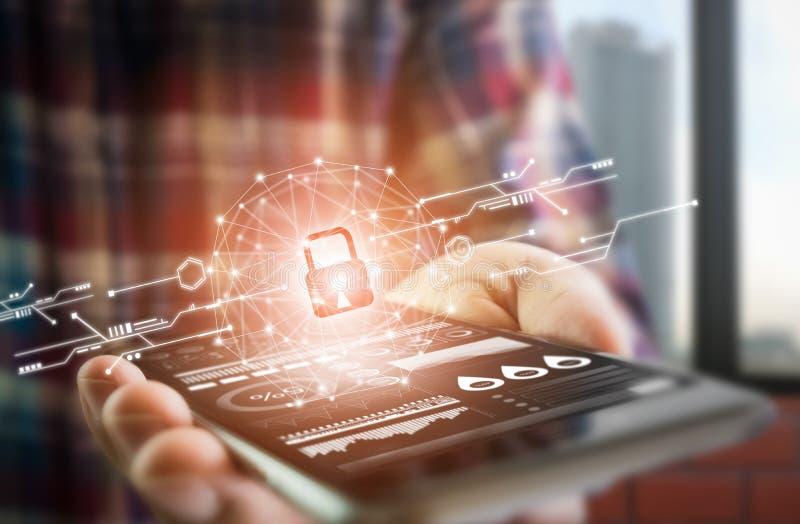 De mensen kleden het smartphonescherm van de levensstijlgreep toont de sleutel in de Veiligheids online wereld de vertoning en te royalty-vrije stock foto's