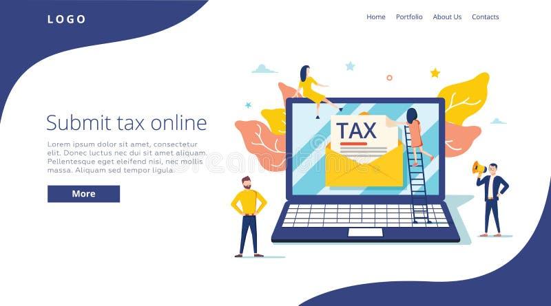 De mensen leggen belasting door online vectorillustratieconcept voor, online belastingsbetaling en het rapport, kan gebruiken voo vector illustratie