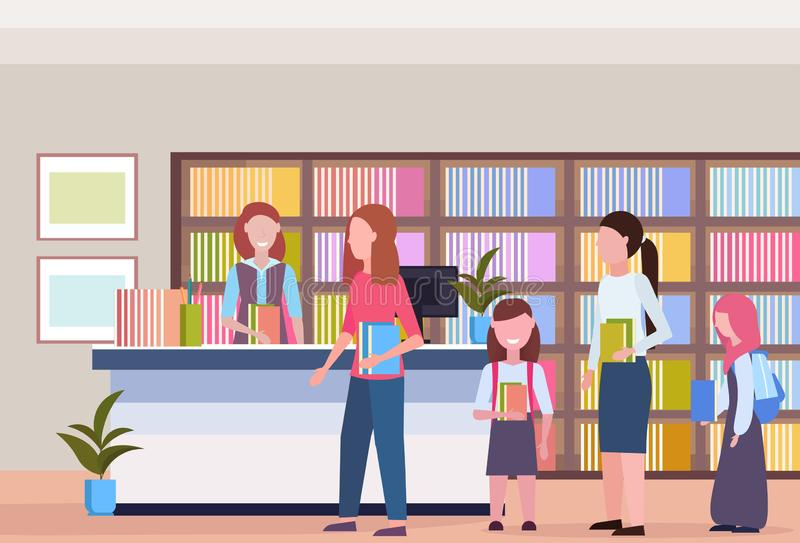 De mensen in lijn vormen lenende boeken van de boekhandel binnenlandse boekenkast van de bibliothecaris moderne bibliotheek met e vector illustratie