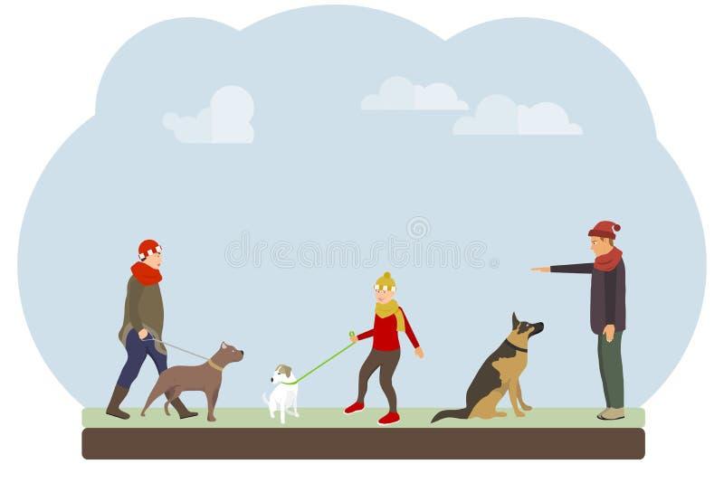 De mensen lopen hun honden in het park De mensen leiden en lopen hun honden tegen de hemel op stock illustratie