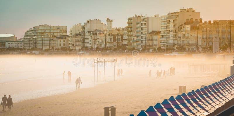De mensen lopen op zand bij de kust royalty-vrije stock foto
