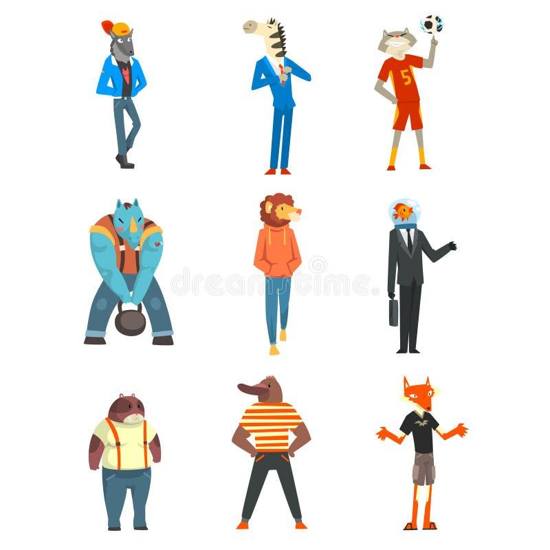 De mensen met dierlijke hoofden plaatsen, wolf, zebra, kat, bever, rinoceros, leeuw, vissen, voskarakters die in kleren dragen stock illustratie
