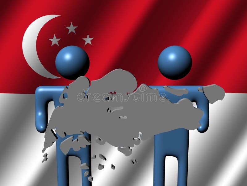 De mensen met Singapore brengen teken in kaart stock illustratie