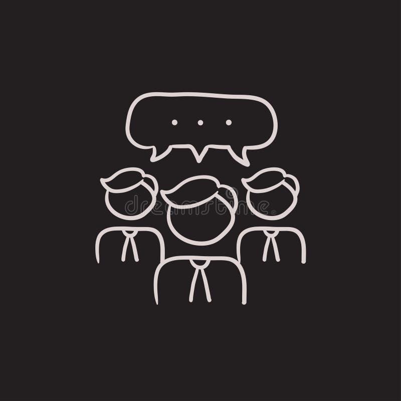 De mensen met toespraak regelen boven het pictogram van de hoofdenschets royalty-vrije illustratie