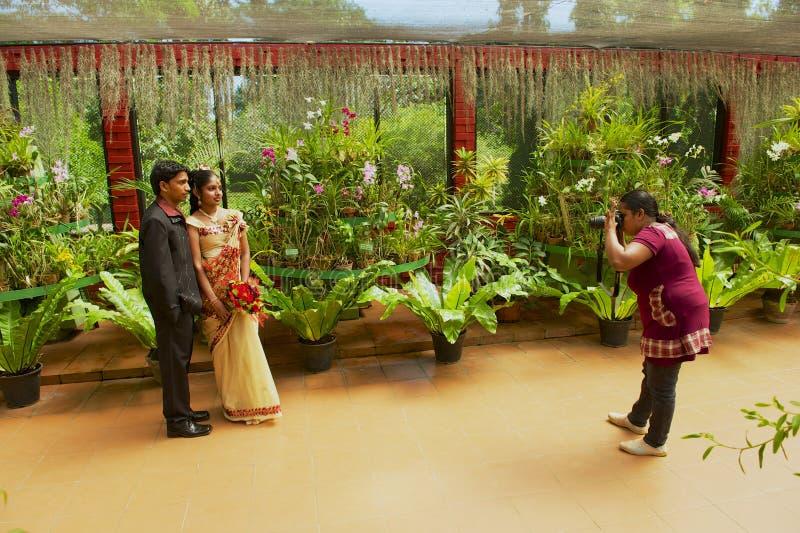 De mensen nemen maken foto bij de openbare orchideetuin in de Koninklijke Botanische Tuin van Peradeniya in Kandy, Sri Lanka royalty-vrije stock foto's