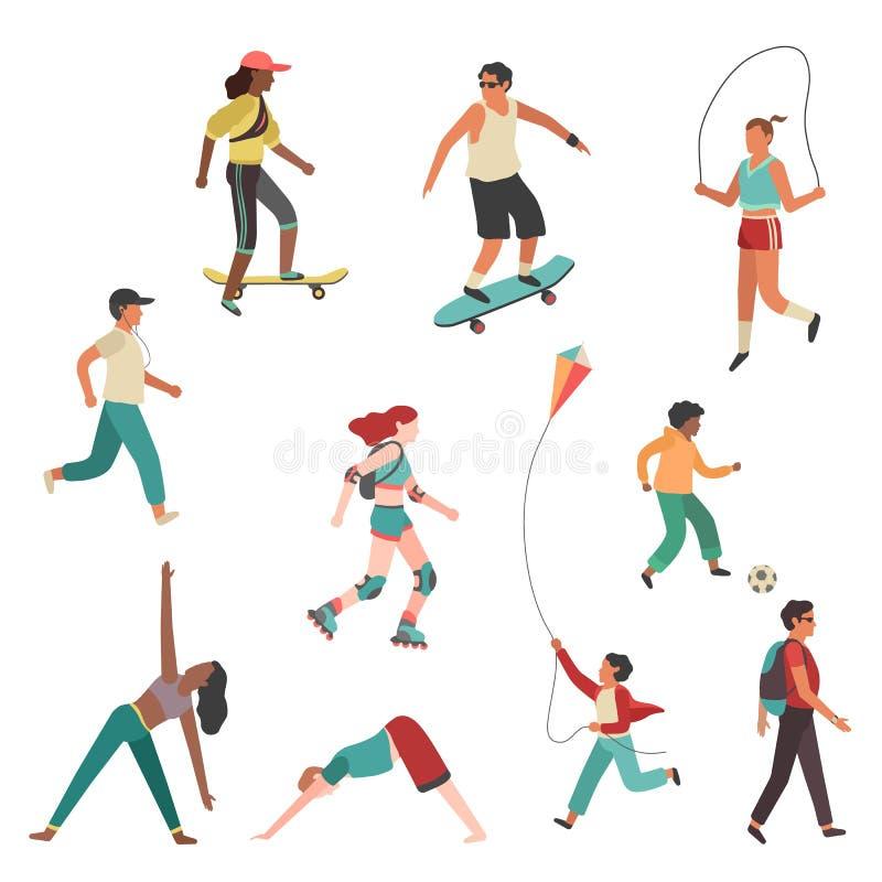 De mensen oefenen uit Het meisjesjongen van de persoonsstad, man en jonge vrouwen lopende fysische activiteit geïsoleerde vlakke  royalty-vrije illustratie