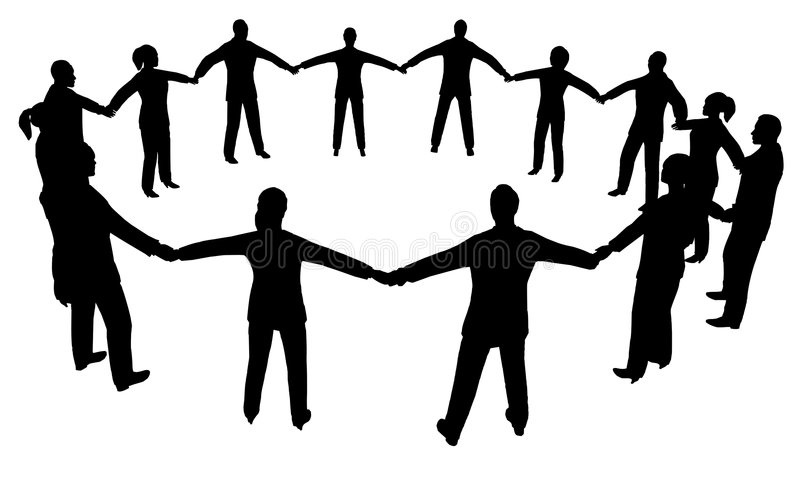 De mensen omcirkelen multisex