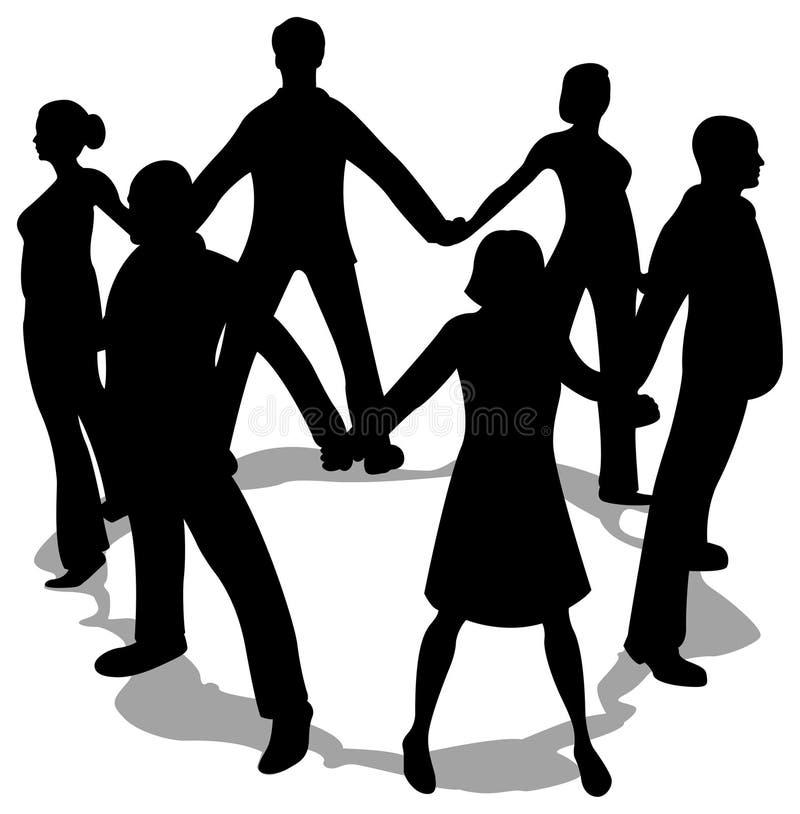 De mensen omcirkelen silhouet royalty-vrije illustratie