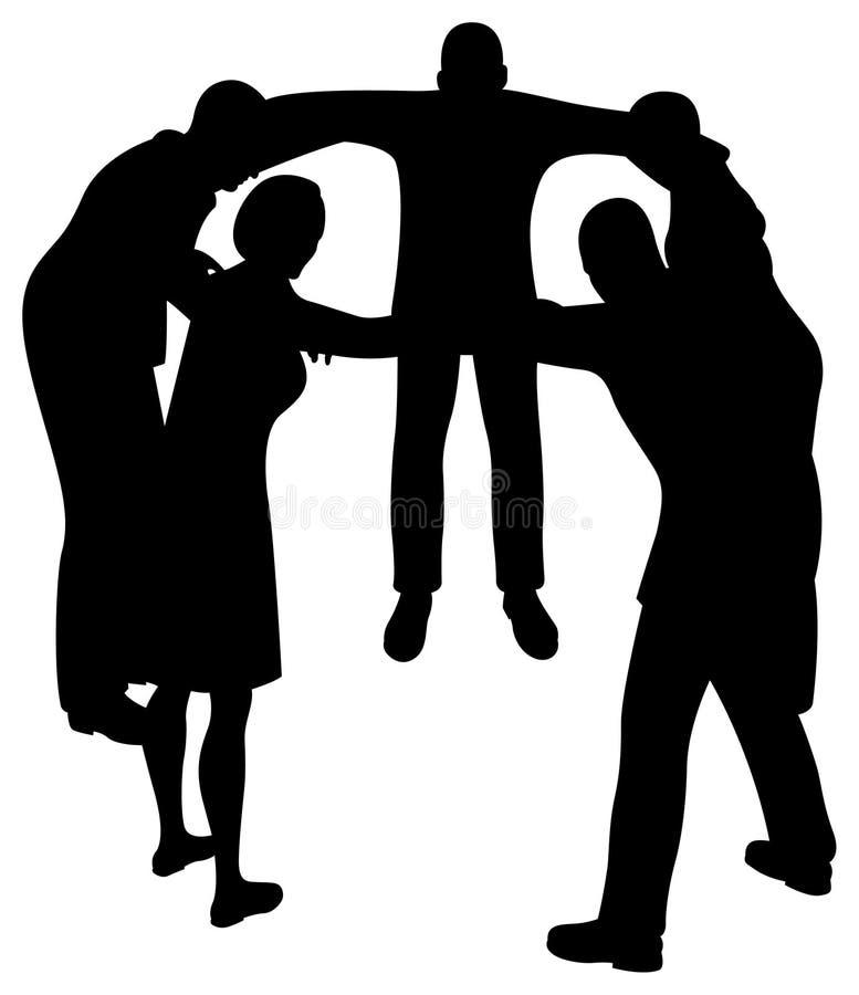 De Mensen Omcirkelen Silhouet Stock Foto