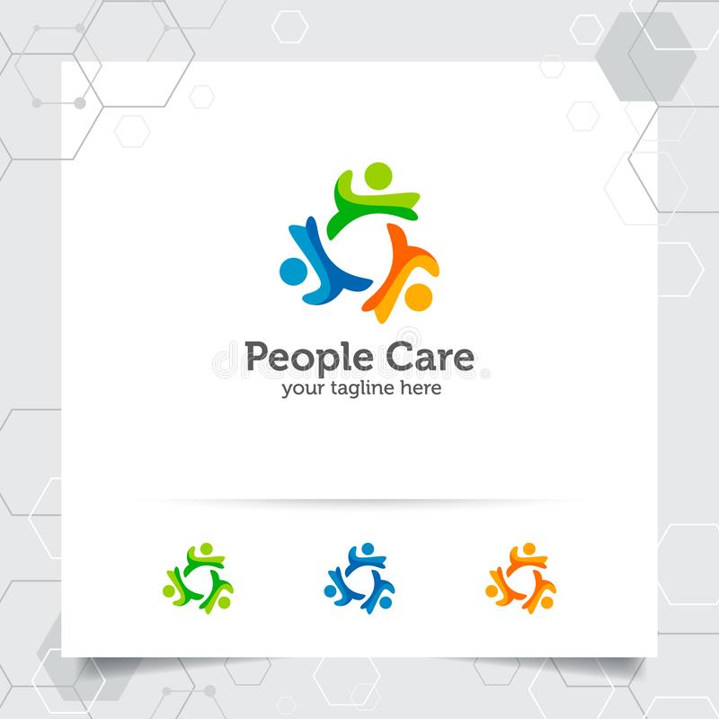 De mensen omcirkelen de vector van het embleemontwerp met concept sociale menselijke pictogramillustratie voor gemeenschap, organ vector illustratie