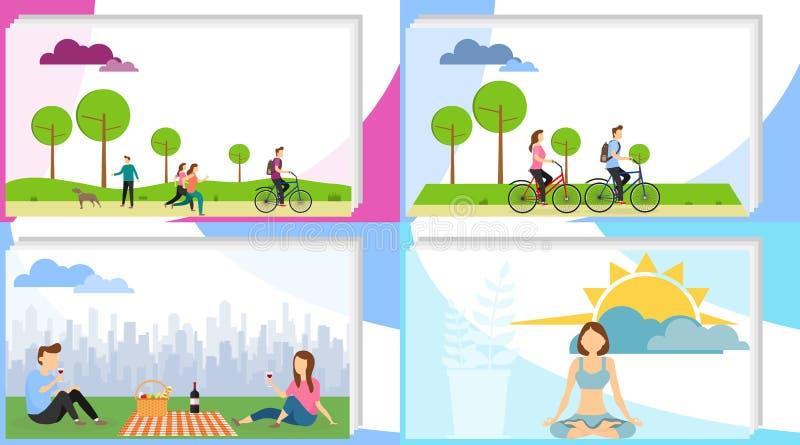 De mensen ontspannen actief De mensen brengen actief tijd in het park door, ontspannen, hebben een picknick, mediteren Vectorillu royalty-vrije illustratie